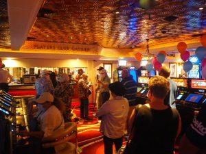 A line near Rainbow Club Casino's Player's Club cashier area