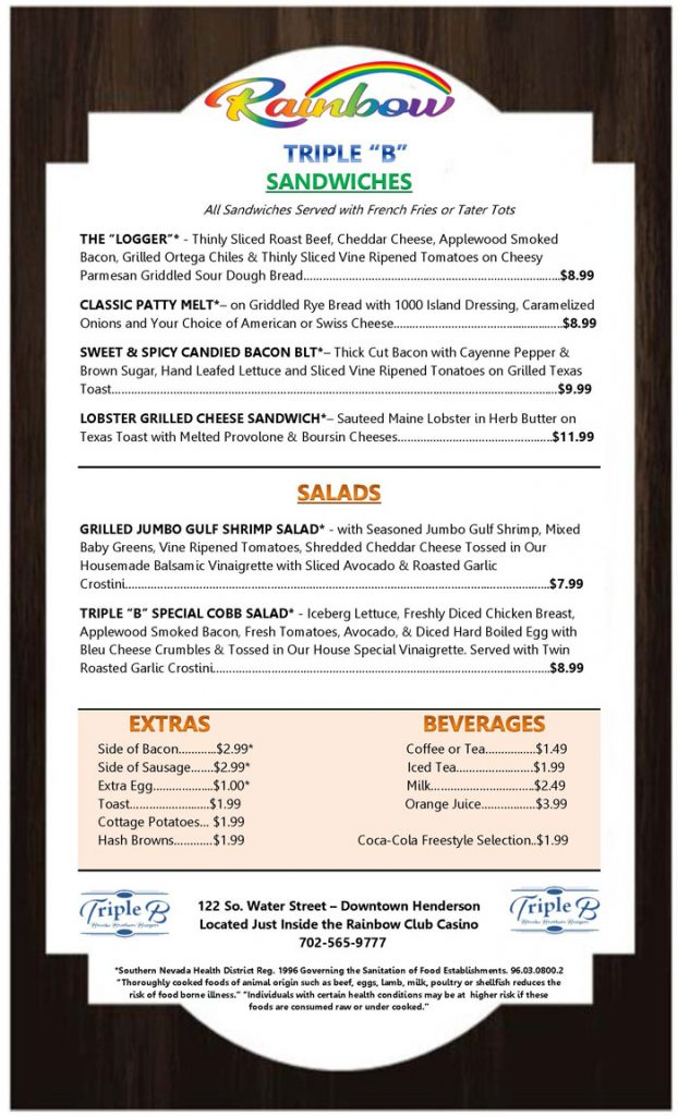 TRIPLE B BRUNCH - MENU BACK