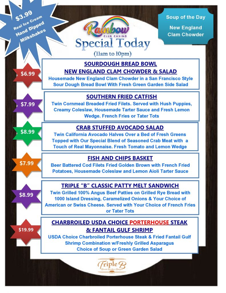 Daily Specials - FRIDAY AND SATURDAY 05-07-21 AND 05-08-21