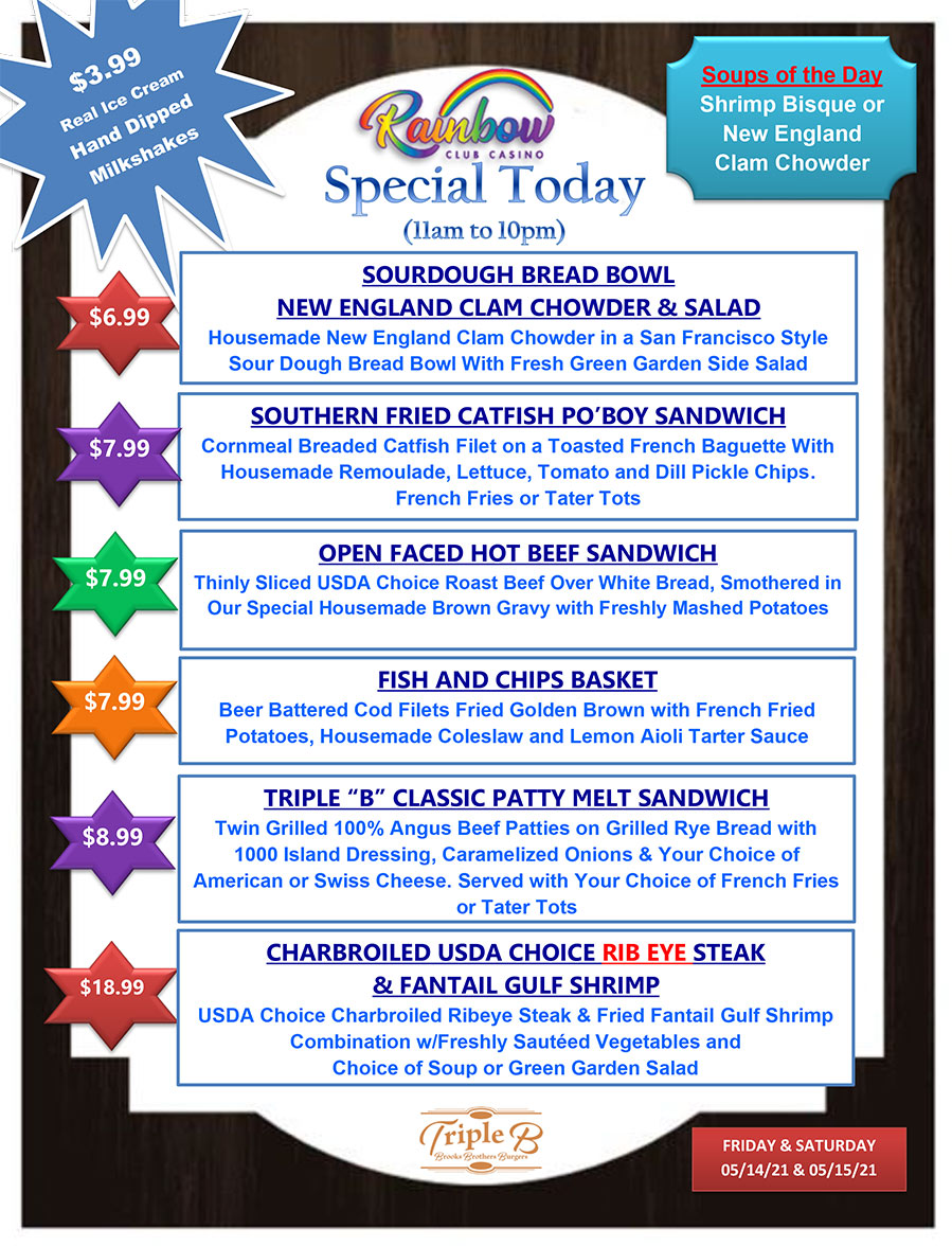 Daily Specials - FRIDAY AND SATURDAY 05-14-21 AND 05-15-21
