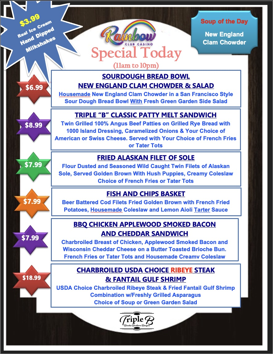 Daily Specials - FRIDAY AND SATURDAY 07-23-21 and 07-24-21