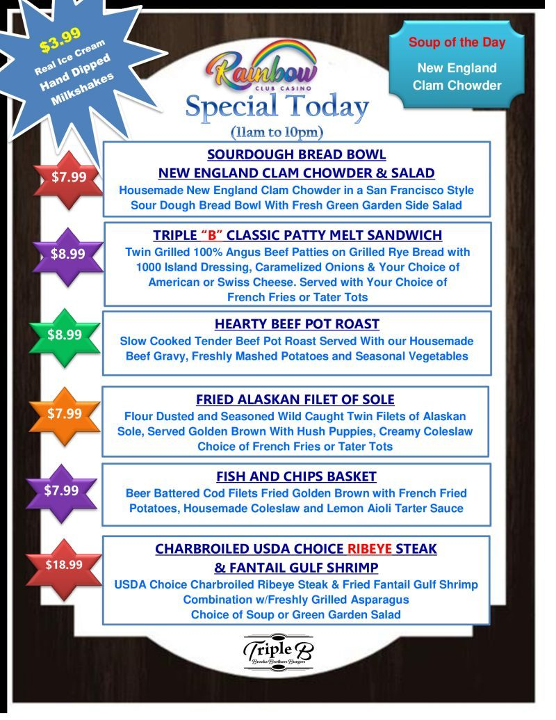 Daily Specials FRIDAY AND SATURDAY 09-17-21 and 09-18-21