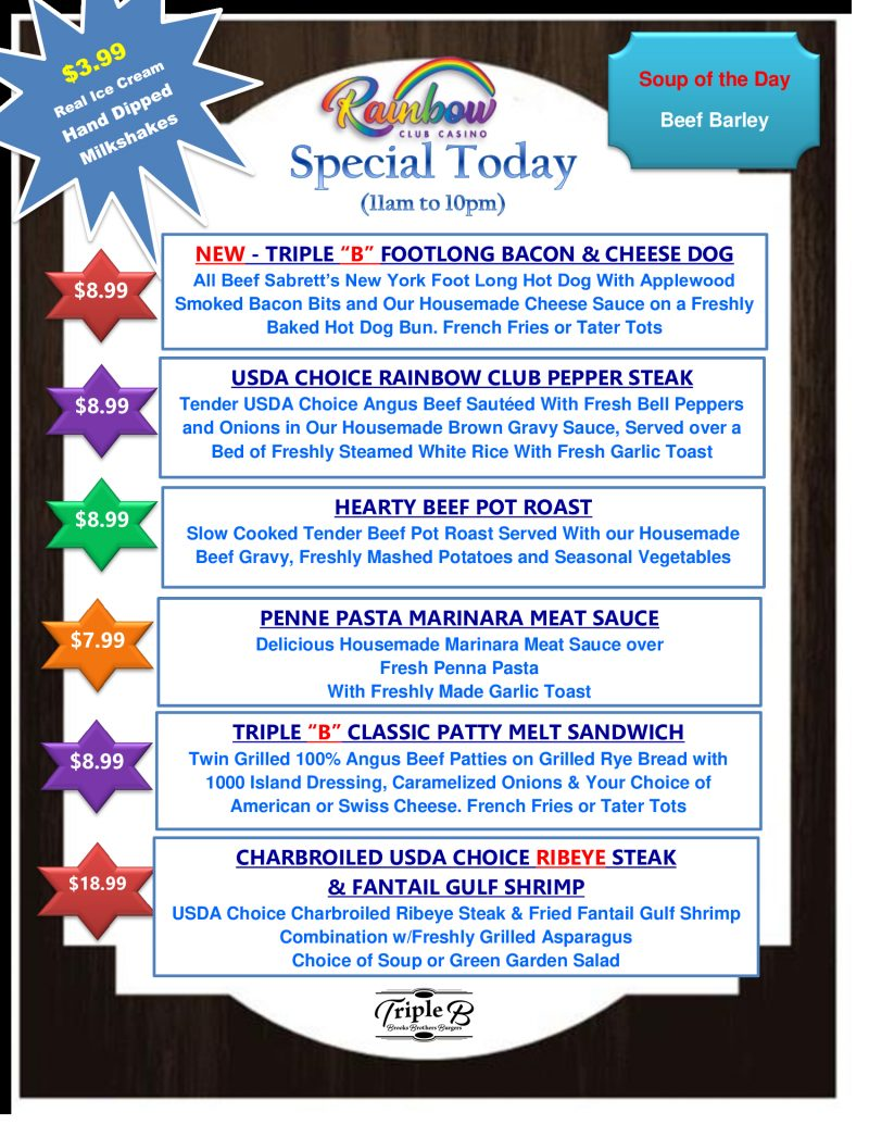 Daily Specials SUNDAY AND MONDAY 09-19-21AND 09-20-21