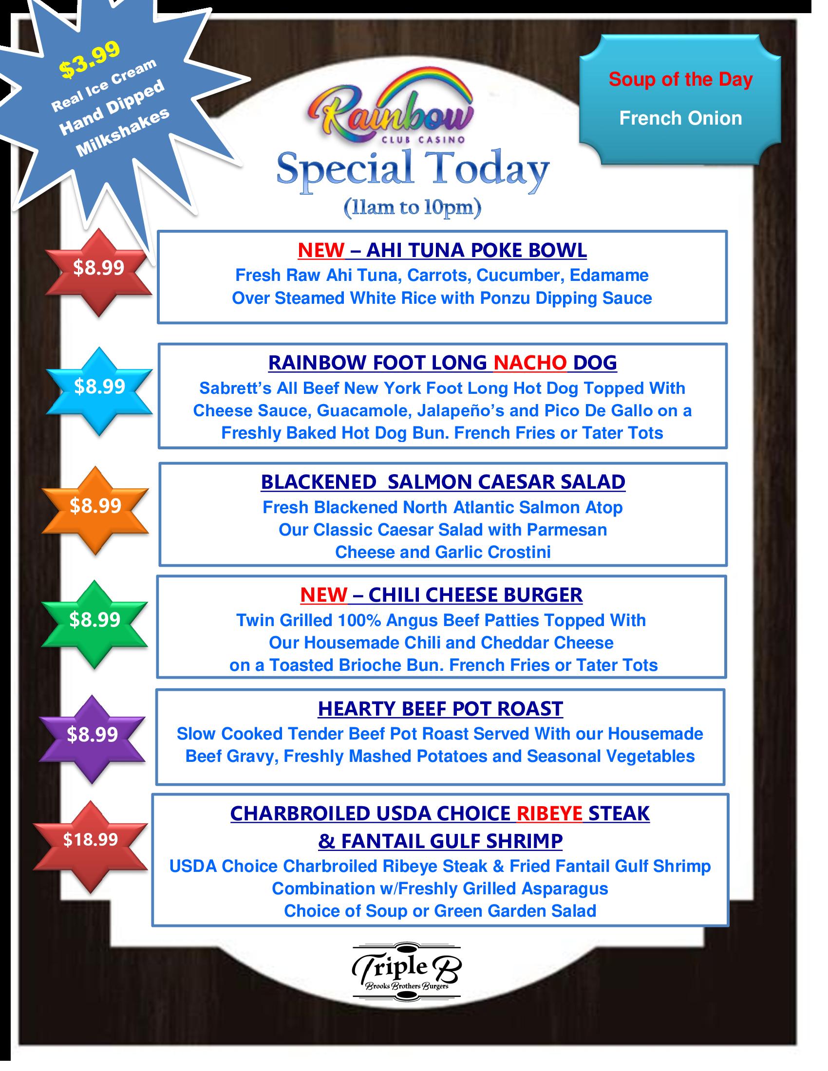 Daily Specials THURSDAY 09-16-21